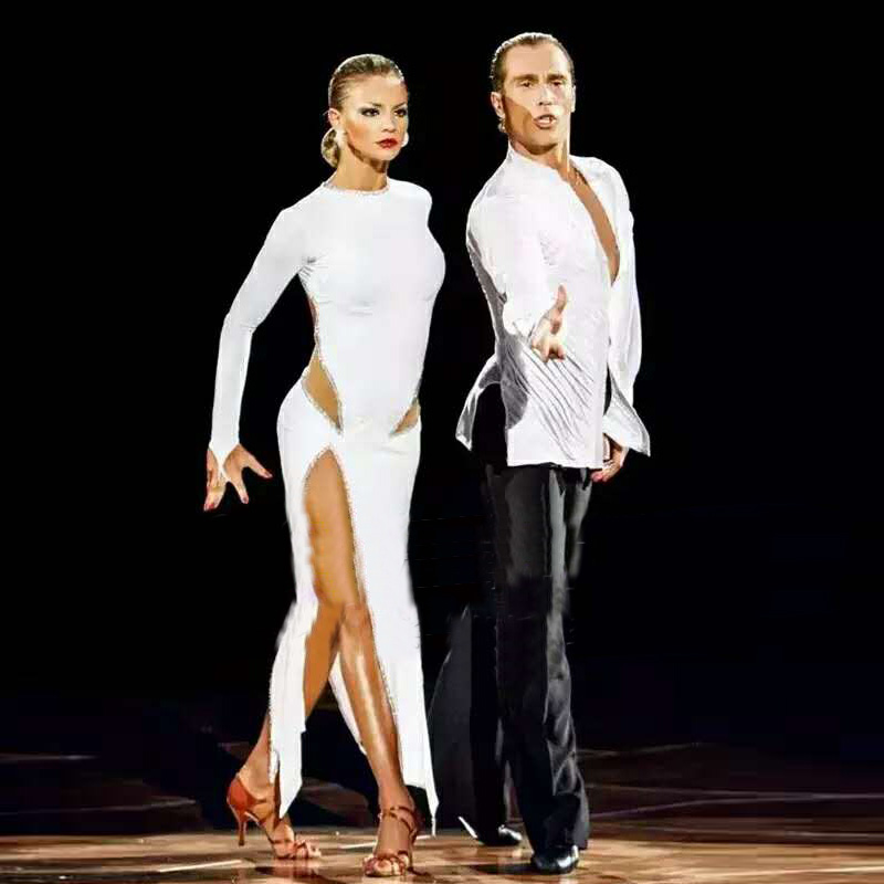 New Sexy Latin Dance Dress Women Fashion Style White Salsa Tango Dresses Lady Rumba Flamenco Competition