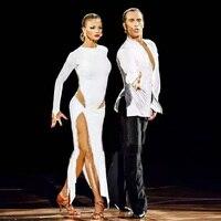 Nuovo Sexy Vestito Da Ballo Latino Donne di Stile di Modo Bianco Salsa Tango Abiti Lady Concorrenza Rumba Flamenco Danza Costumi B205