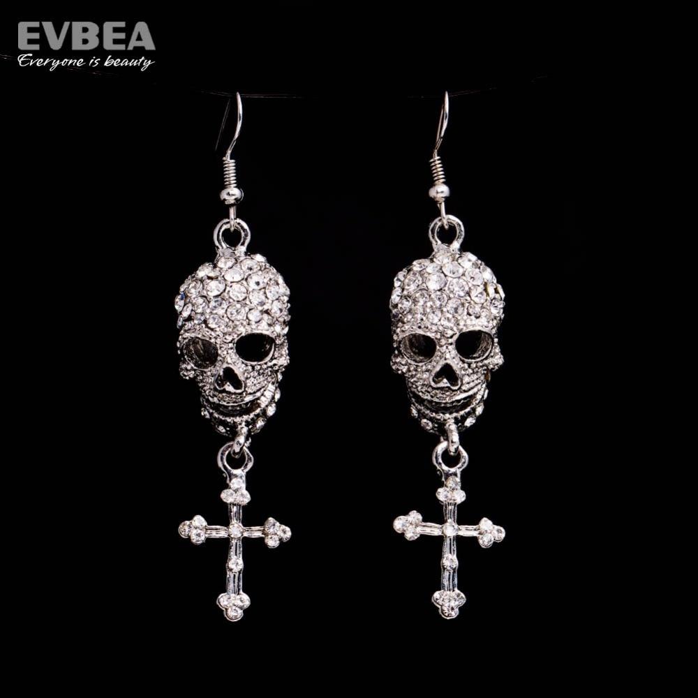 Aliexpress My Orders Hip Hop Party Punk Silver Plated Skull Long Dangle  Cross Earrings Women Fashion Jewelry Accessories Bpan