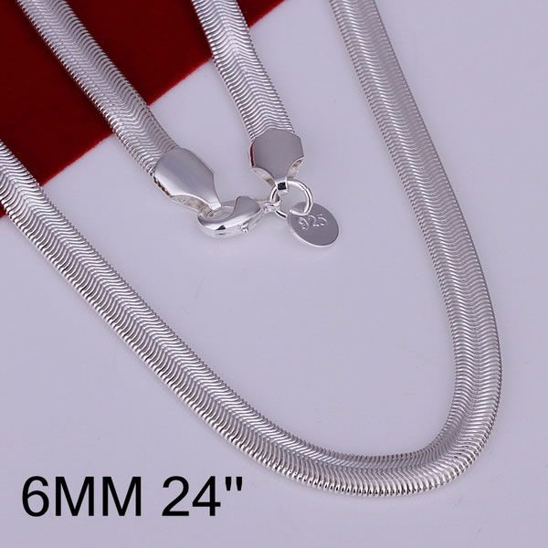 N193-24 silver plated Necklaces silver 925 jewelry Pendant fashion jewelry  6mm Snake Bone Necklace-24 bzjakqqa clbalcia