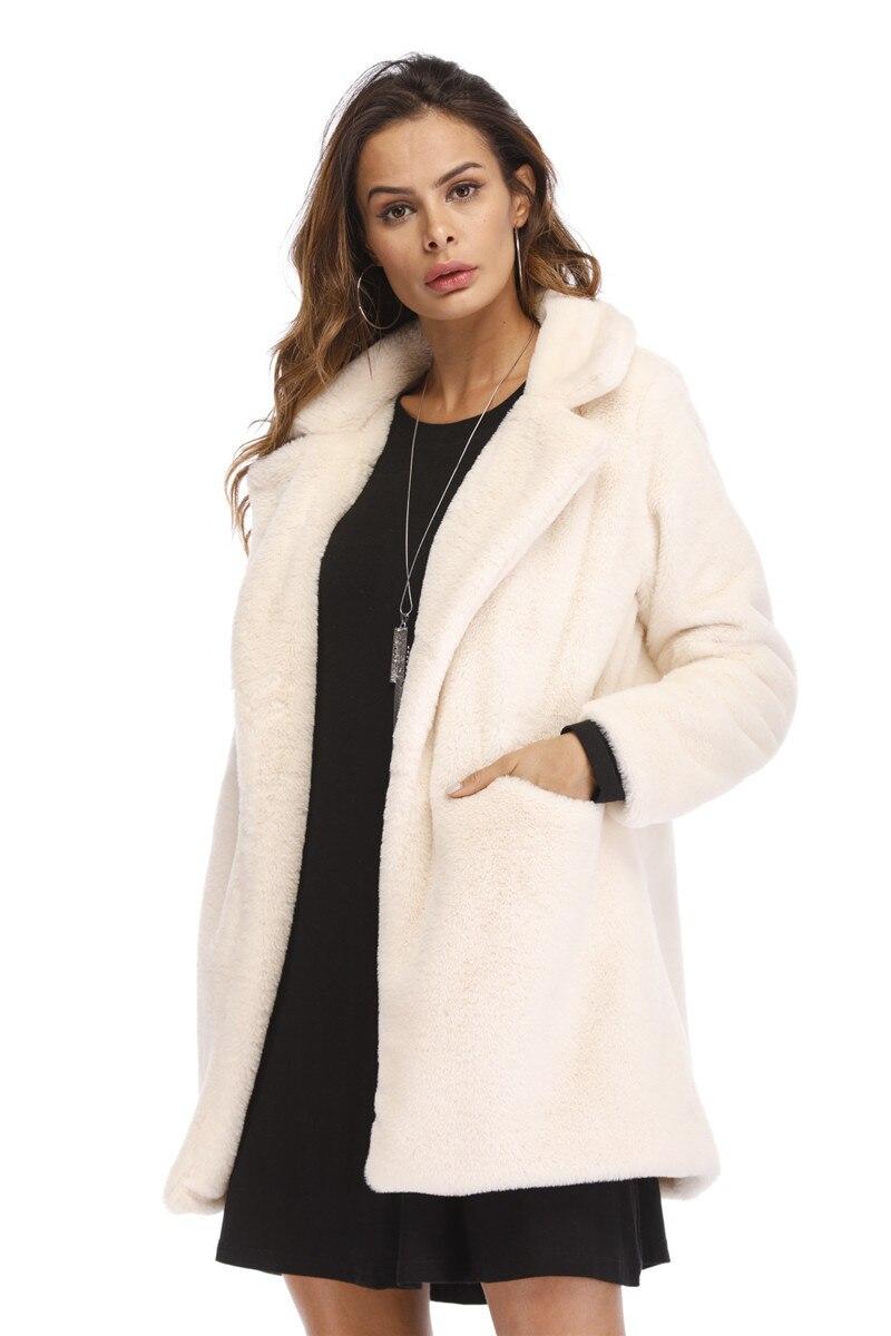 2018 femmes hiver mode fausse fourrure manteaux épaissir Chic femme chaud survêtement grande taille fourrure épais vestes manteaux poilus pardessus