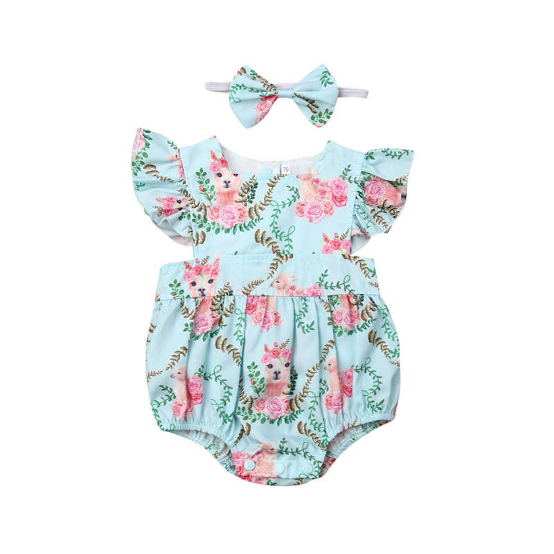 Infant Baby Girl Bodysuits Cartoon Print Bodysuit Summer One Pieces Casual Cotton Outfits Clothes Headband Set