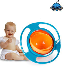 Universal Gyro Bowl Practical Design Children Rotary Balance Bowl Novelty Gyro Umbrella Bowl 360 Rotate kids bowl Solid Plate(China)