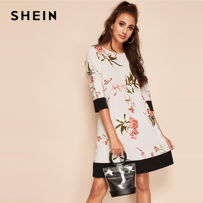 Шеин Boho Белый ботанический цветочный принт два тона Colorblock прямое платье для женщин Лето круглый средства ухода за кожей шеи Короткие одноцветны купить на AliExpress