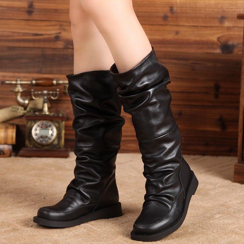 Para Plisado Gran Caliente Slip on Dama Invierno black Cuero short botas Black Arrugas De Tamaño Mujer Mediados 41 Botas Piel Plush Natural Zapatos leather EqaEwrS