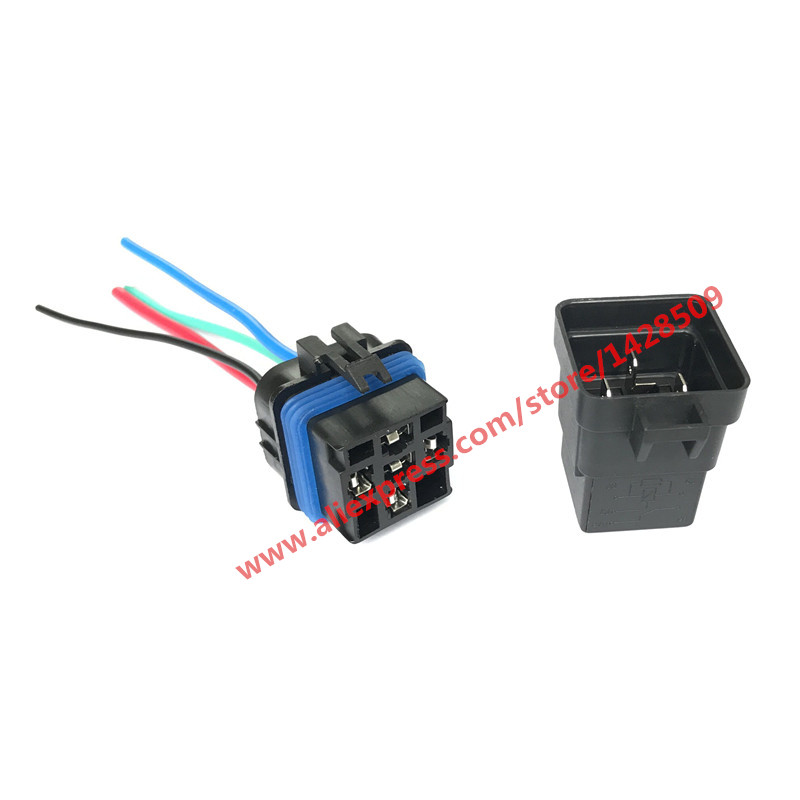 High Quality 5 pin Automobile relay 12v 40A with plug and 12cm wire harness automobile modification car relay waterproof waterproof car relay 12v 40a 4 modified car with cable