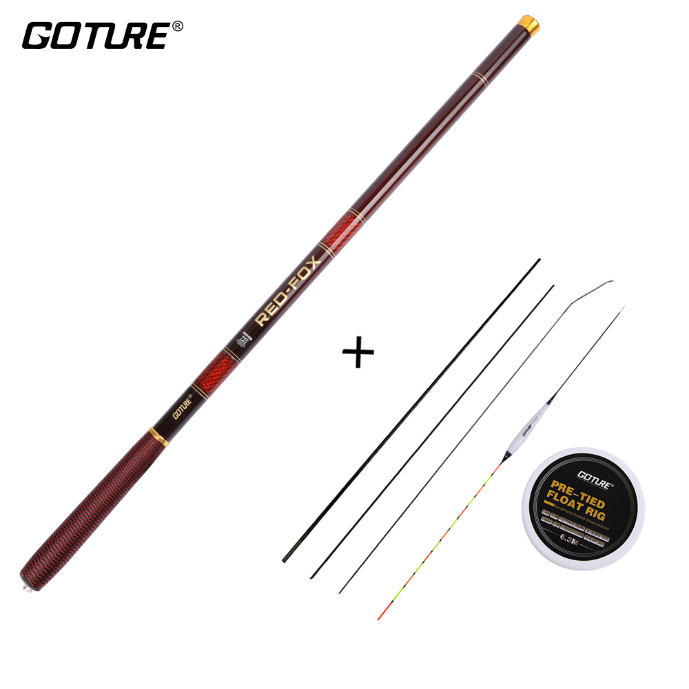Goture Telescopic Fishing Rods 3.0M-7.2M Carbon Fiber 2/8-3/7 Power Stream Rod Hand Pole+Fishing Float Rig&Spare Top-three Tips
