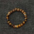 Tiger Eye Stone & Wood Beads Mens Bracelet, Men 925 Sterling Silver Stretch Bracelet,Handmade Mens Mala Jewelry