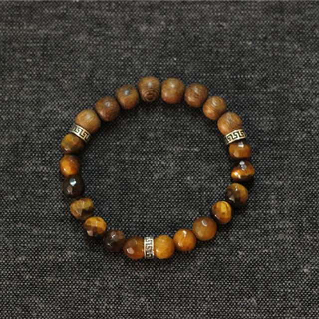Tiger Eye Stone Wood Beads Mens Bracelet Men 925 Sterling Silver Stretch