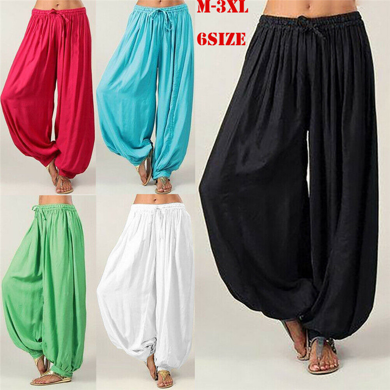 2019 Womens Lady Loose Solid Bandage Hippie Aladdin Long Pants Gypsy Harem Trousers Baggy Hareem Trousers Plus Size