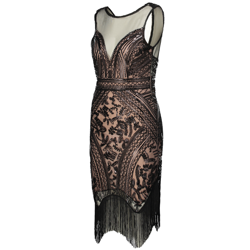 A Dress Del Costumi 1920 Maniche S Ganster Vestito Art Paillettes Charleston Deco Gatsby Donne Partito Frangia Retro Flapper V In Senza Scollo wYqCICR