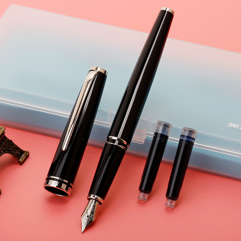 High Quality 0.5mm Fountain Pen Ink Gift Set Silver Clip Black White Pink Blue Iridium Pens for Writing Business GiftHigh Quality 0.5mm Fountain Pen Ink Gift Set Silver Clip Black White Pink Blue Iridium Pens for Writing Business Gift