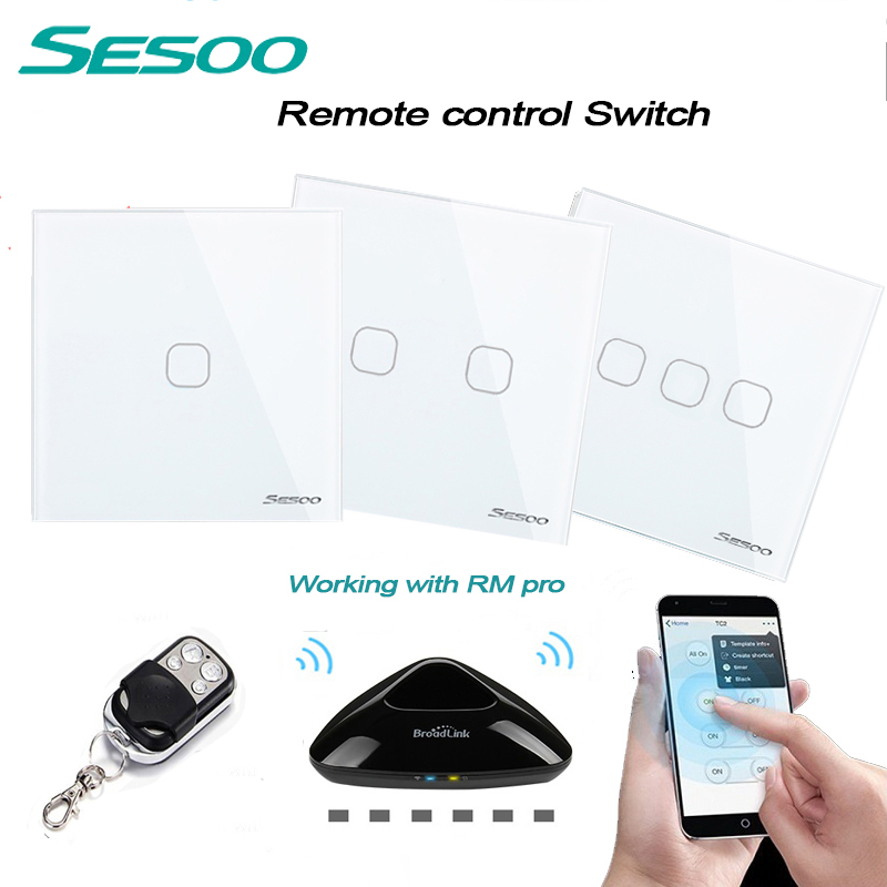 EU/UK Standard SESOO 1gang/2gang/3gang Wireless Remote Control Light Switches, Smart Home RF433 Remote Control Wall Touch Switch eu standard sesoo wireless remote control touch switch 1gang 2gang 3gang 1way rf433 smart wall switch glass panel led indicator