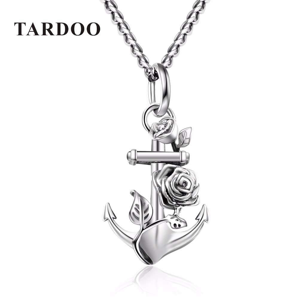 Tardoo Genuine Sterling Silver Suspension Necklaces for Women Anchor Flower Wedding Pendant Necklaces Silver 925 Jewelry