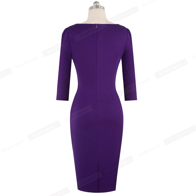 Elegant Solid Color Wear to Work with Button Peplum vestidos Business Office Party Bodycon  Dress