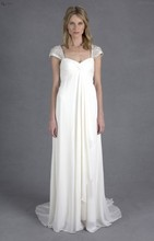 free shipping casamento crystal cap sleeve vestido de noiva longo 2014 new fashionable long romantic wedding dress bridal gown