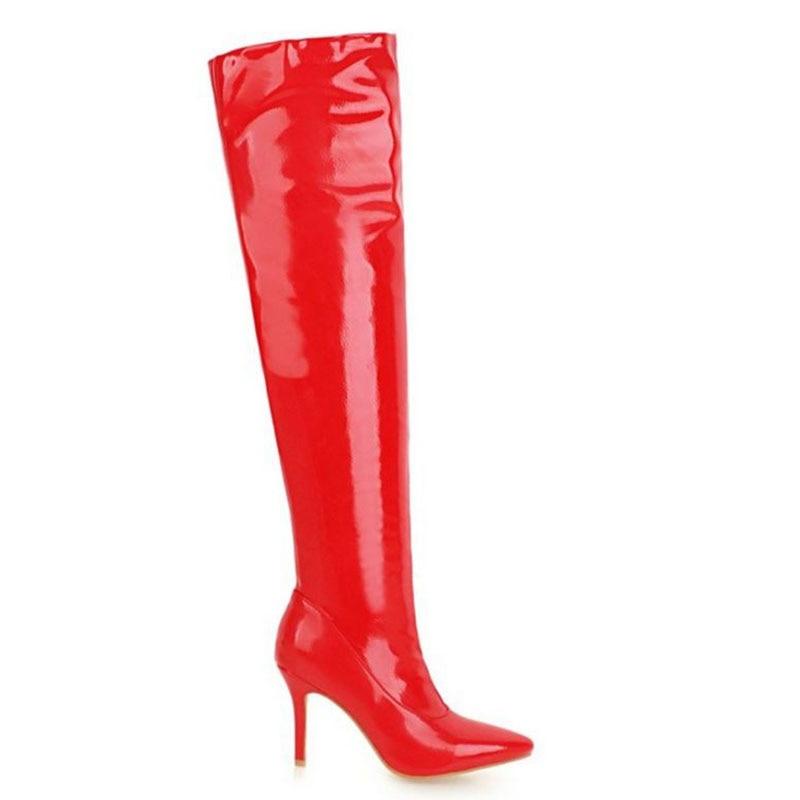 Verni En Au Sexy Talons Cuir Taille Chaudes Femmes Mince Plus Des Noir Pointu rouge blanc Bout Sur Lebaluka 30 48 Bottes Chaussures Talon Genou À Hauts TK1JclF