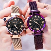 Vrouwen Mesh Magneet Gesp Sterrenhemel Horloge Luxe Dames Geometrische Oppervlak Romeinse Cijfer Quartz Horloges Relogio Feminino
