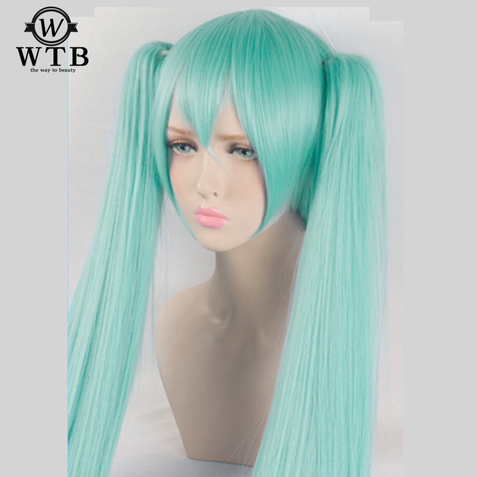 WTB Cosplay <font><b>Wig</b></font> Hatsune Miku Costume Play <font><b>Wigs</b></font> Halloween party Anime Game Hair <font><b>150cm</b></font> Synthetic Aquamarine <font><b>wig</b></font> image