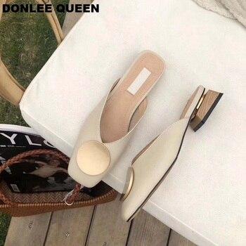 2020 Brand Designer Women Slippers Slip On Mules Flat Heel Casual Shoes British Buckle Slides Wooden Block Heels Summer Footwear 5
