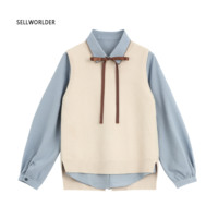 2018 Autumn Women's Casual Style Two piece suit Office lady Vintage Blouse with vest