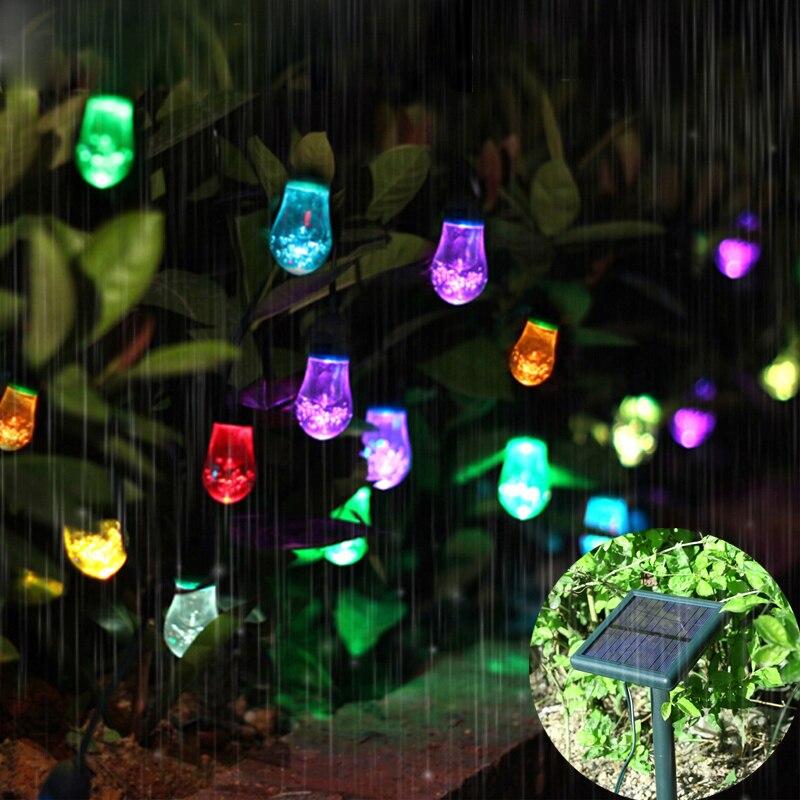 AGM LED Solar String Light Solar Powered Outdoor Christmas Fairy Lights 12  Bulbs Raindrop Garden Party