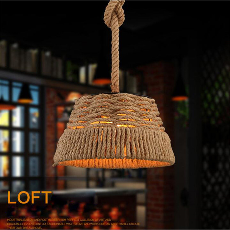 ФОТО Vintage Rope Ceiling Light Loft Industrial Lamp E27Edison Bulb American Style Pure Manual Weaving Rope Ceiling Lamp For Cafe Bar