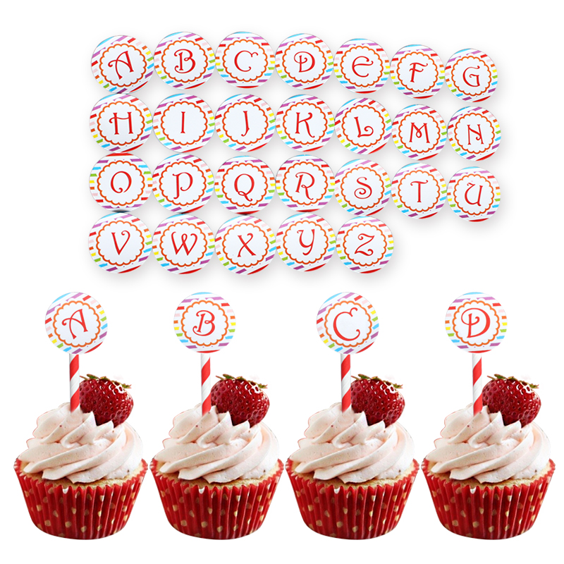 26pcs Red Letters Happy Birthday Cupcake Cake Topper Picks Favors