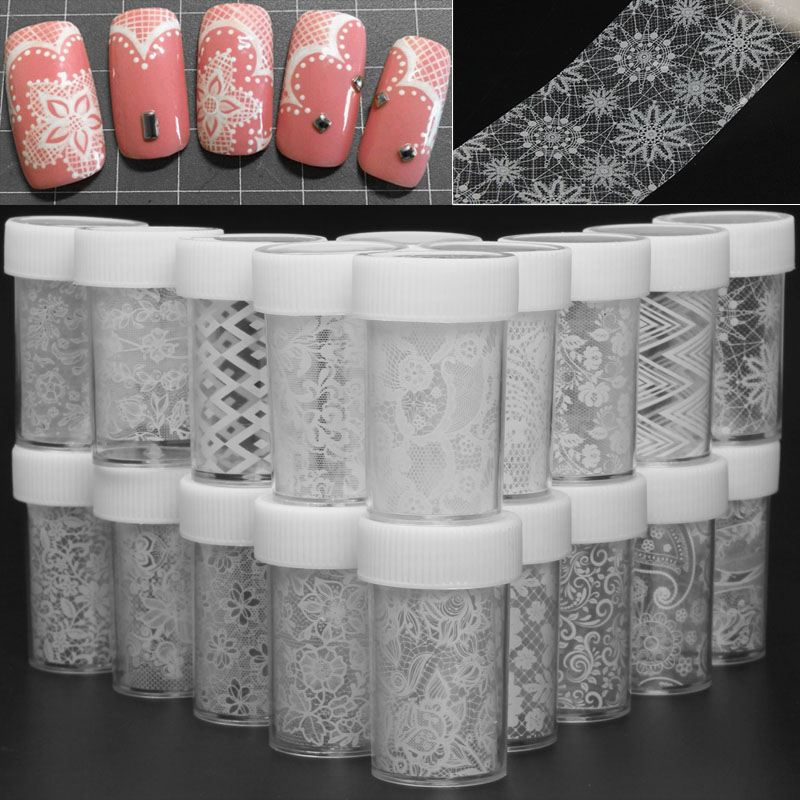 100*4cm White Lace Flower Nail Tranfer Foil High Quality Nail Foil Stickers Art Decals Wraps Sticker Manicure Tools 20cm black and white lace nail sticker transfer sticker nail art foil stickers flower nail art tool