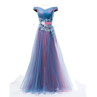 BDBRIDAL Long Prom Dress With Lace Off Shoulder A Line Tulle Women Evening Gown In 2