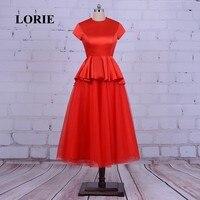 LORIE Barato Tea Comprimento do Regresso A Casa Do Partido Vestido de Noite Vermelho Vestido de Cetim Tule Ruched vestido de festa vestido de Baile vestidos para Graduação