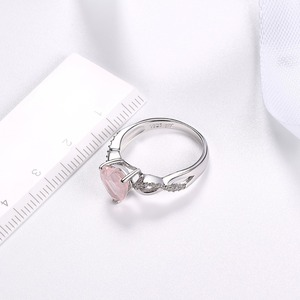 Image 5 - Hutang Womens Ring Natural Rose Quartz Solid 925 Sterling Silver Heart Rings Fine Pink Gemstone Elegant Jewelry Infinite Love