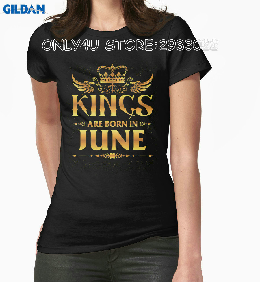 Gildan Only4U Summer Sleeves Cotton T Shirt Fashion Crew Neck Kings Are Born In June Print Tee For Women