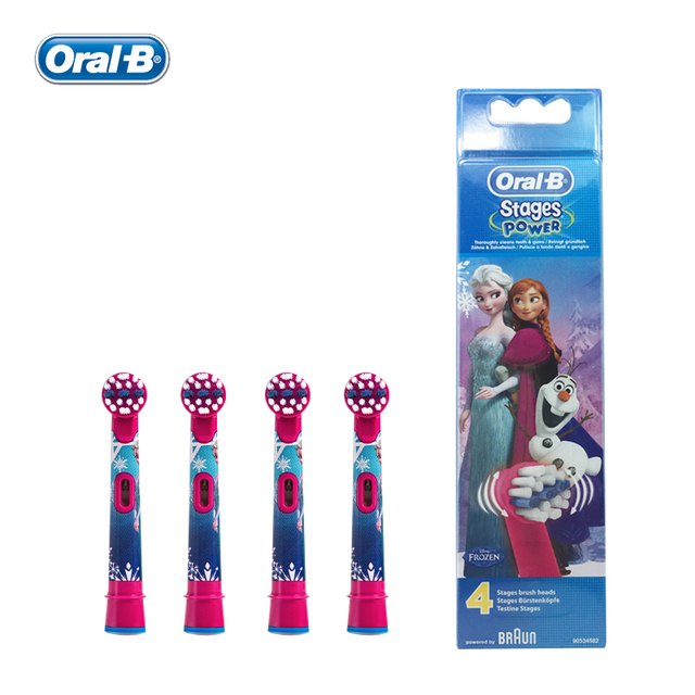 Oral B Children Electric Toothbrush Heads EB10-4 Round Brush Tooth Heads 4 hedas for 3+ children Frozen