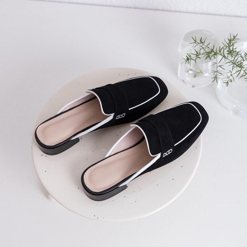 b56da06a8be154 De Classique Black Bas Zvq Femme 2019 Enfant Externe Chaussures Mode Suède  Talon Ouvert Carré apricot ...