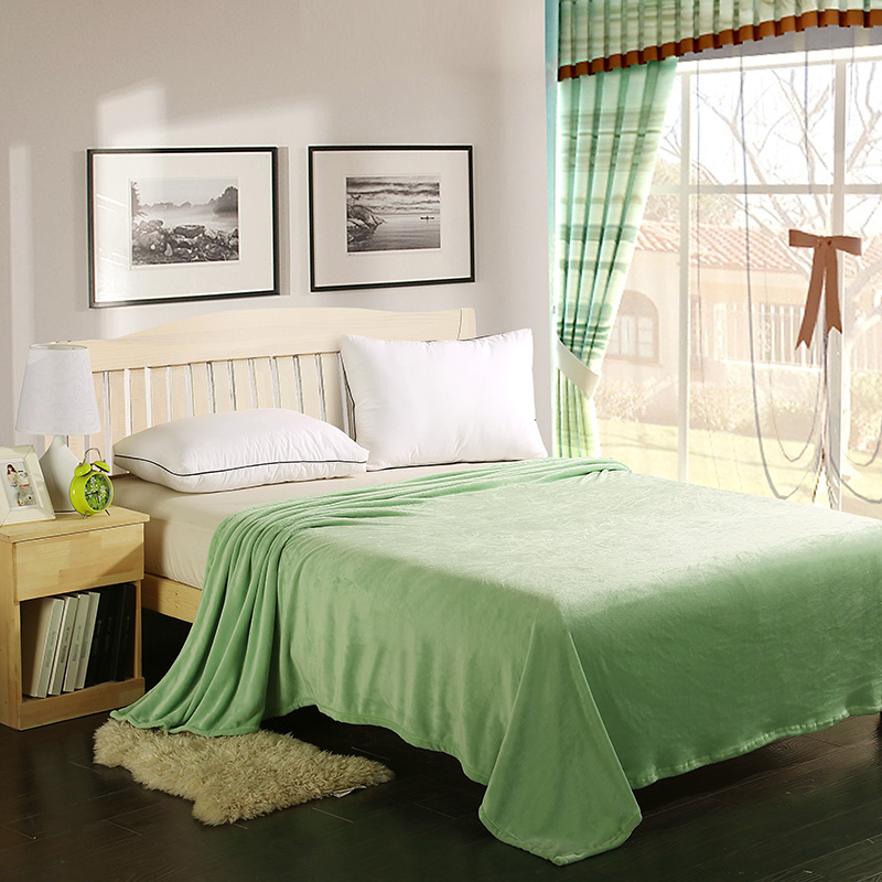 New Plush Flannel Blanket Fleece Light Weighted Solid