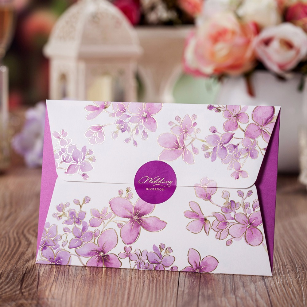 Customizable Wedding Invitations Cards Purple Floral Paper – Card Stock for Invitations