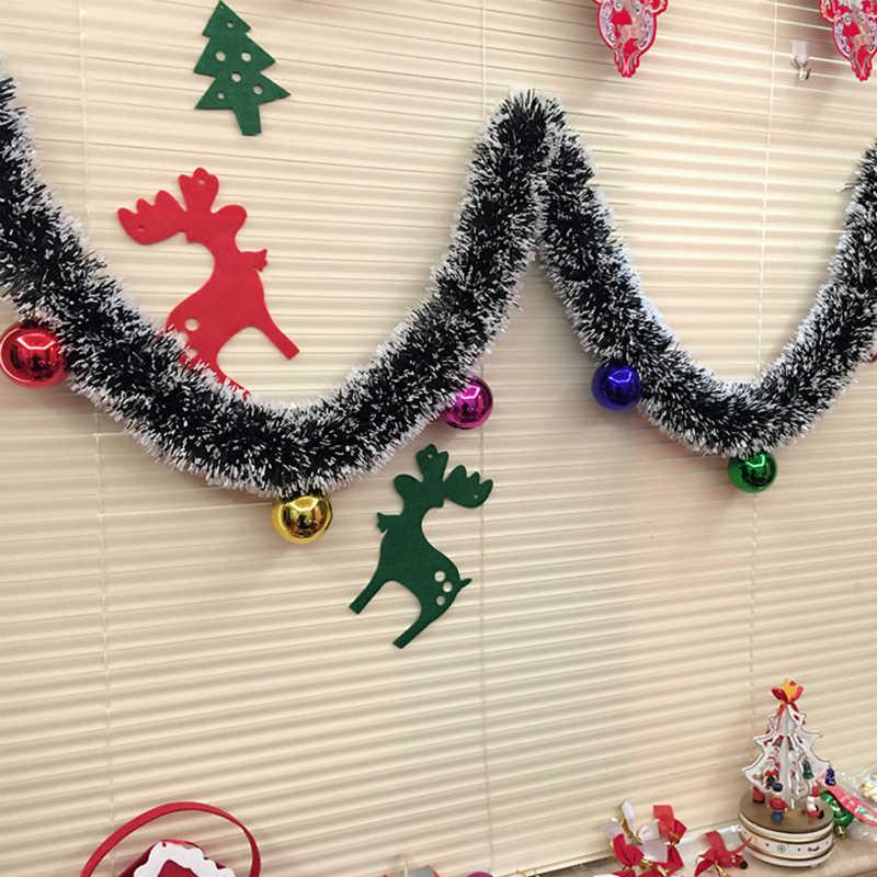 2M Christmas Decoration Mall Bar Tops Ribbon Garland Xmas Tree Ornaments White Dark Green Cane Tinsel Party Home Decor Supplies