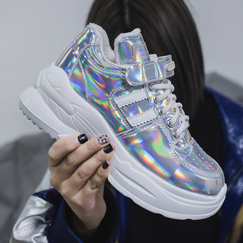 Glitter Designer Platform Sneakers Women Casual Shoes Woman Sneakers Basket Trainer Female Chunky Sneakers 2019 Zapatillas Mujer