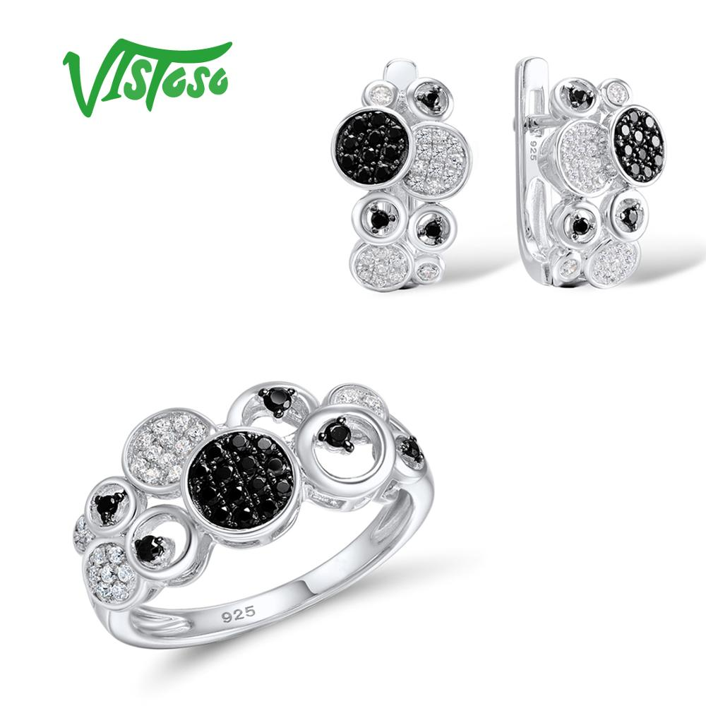 VISTOSO Jewelry Sets For Woman Black spinels White CZ Stones Jewelry Set Earrings Ring 925 Sterling