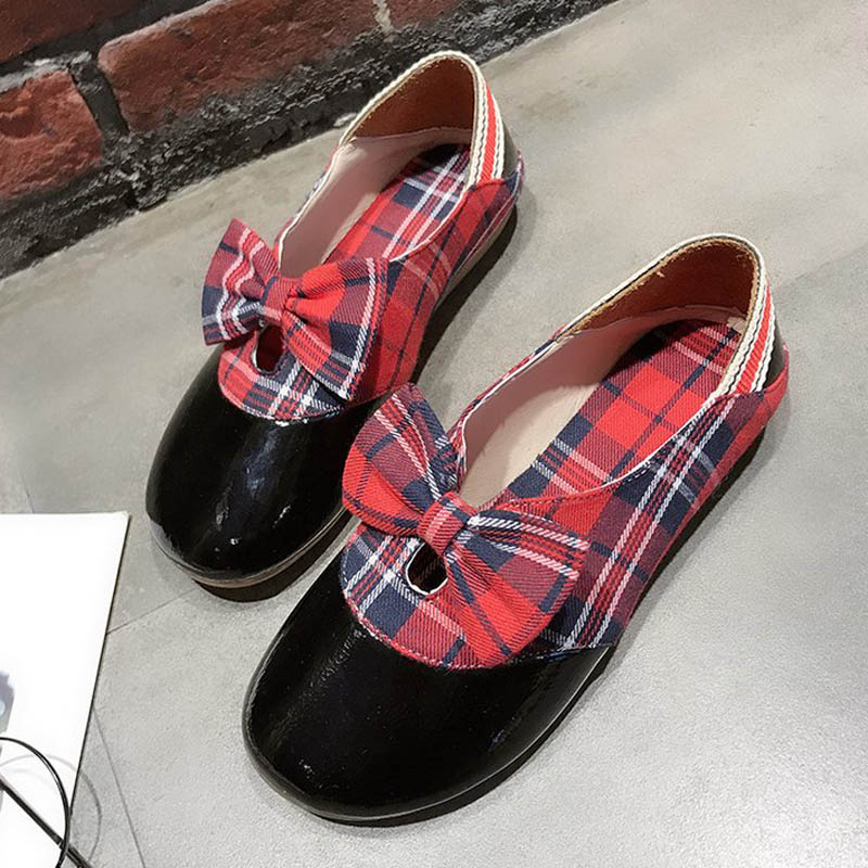 Chaussures Vichy Red noeud Appartements Nouveau Butterfuly Hee Xwd7561 Bout Printemps 35 Mode Rond Doux 39 yellow Grand sur Décontracté Taille Arrivent Slip Plates f4pZq