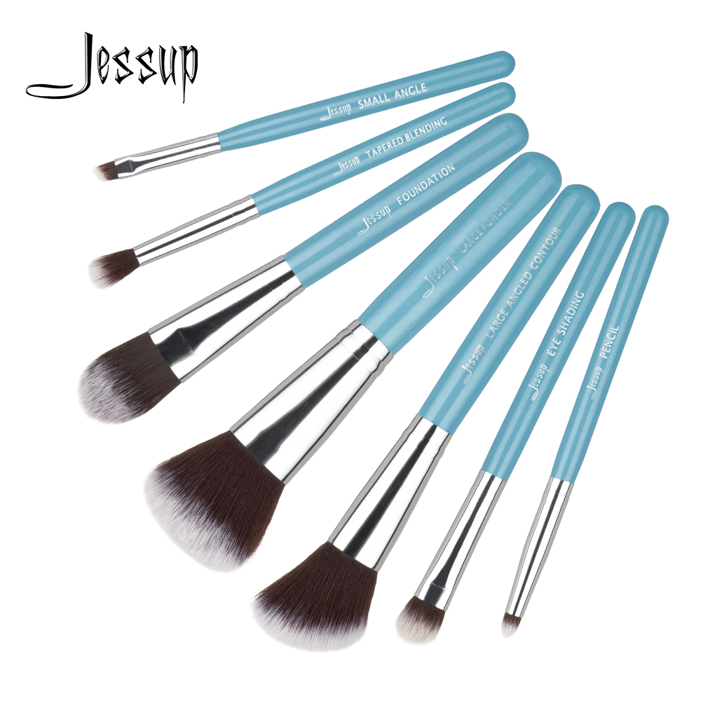 Jessup 7pcs איפור מברשות סט כחול / כסף ידית עץ מיזוג מיזוג אבקה קרן Eyeshader מברשות קוסמטיקה T072