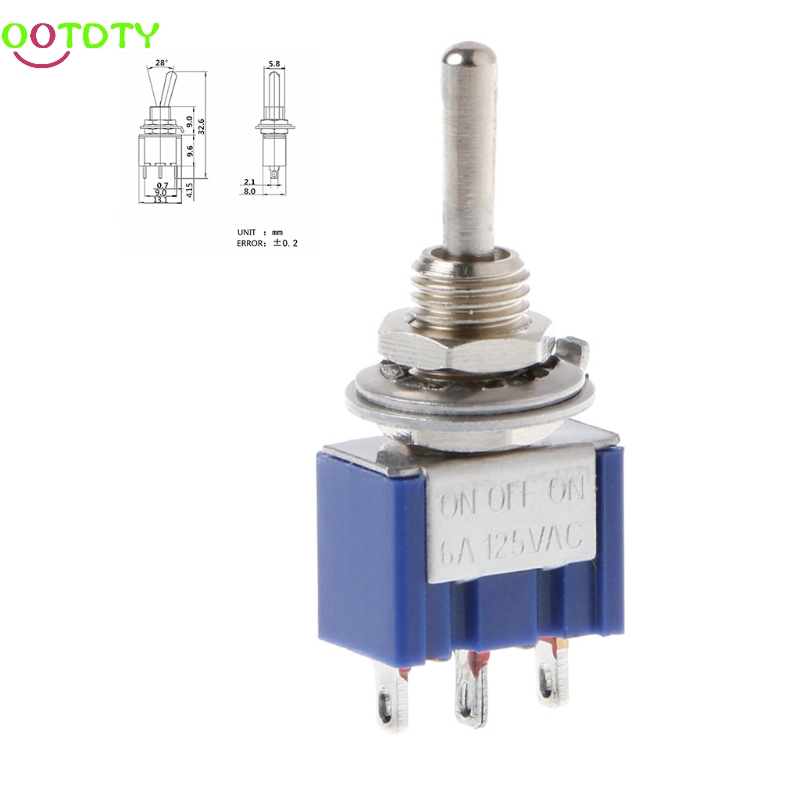 5Pcs/Set ON-OFF-ON 3 Pin 3 Position Mini Latching Toggle Switch AC 125V/6A 250V/3A  828 Promotion new mini 5pcs lot 2 pin snap in on off position snap boat button switch 12v 110v 250v t1405 p0 5