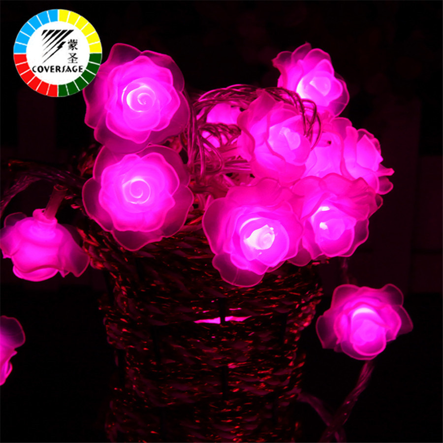 Coversage 10M 100 Led String Garland Juletræ Rose Flower Fairy Light - Ferie belysning - Foto 4