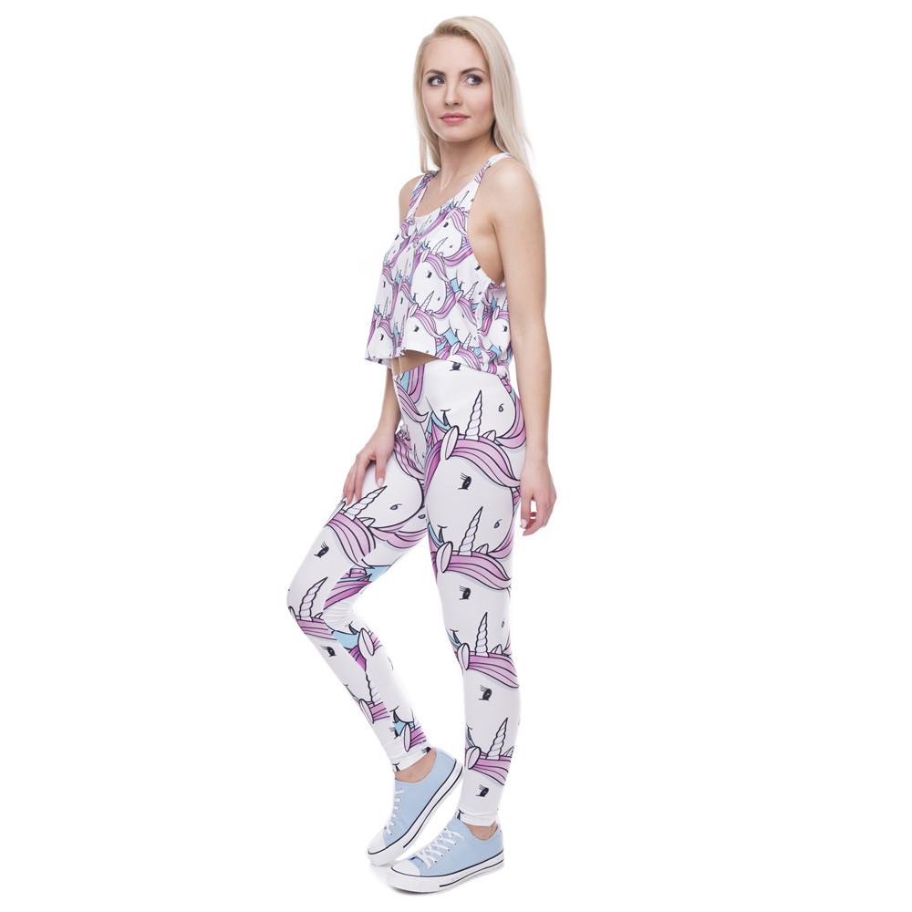 Pink White Unicorn Leggings