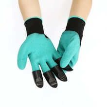1 Pair ABS Home Gloves With Fingertips 4 Claws Garden Ginie Rubber For Rose Easy To Dig Groves Pruning Planting