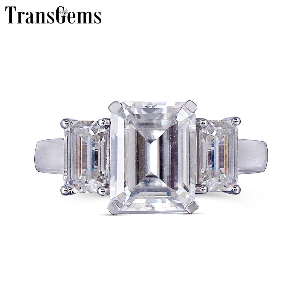 Transgems 14 K 585 Weiß Gold Moissanite Engagement Ring für Frauen F Farbe Moissanite Smaragd Cut 3 Stein Engagement Ring