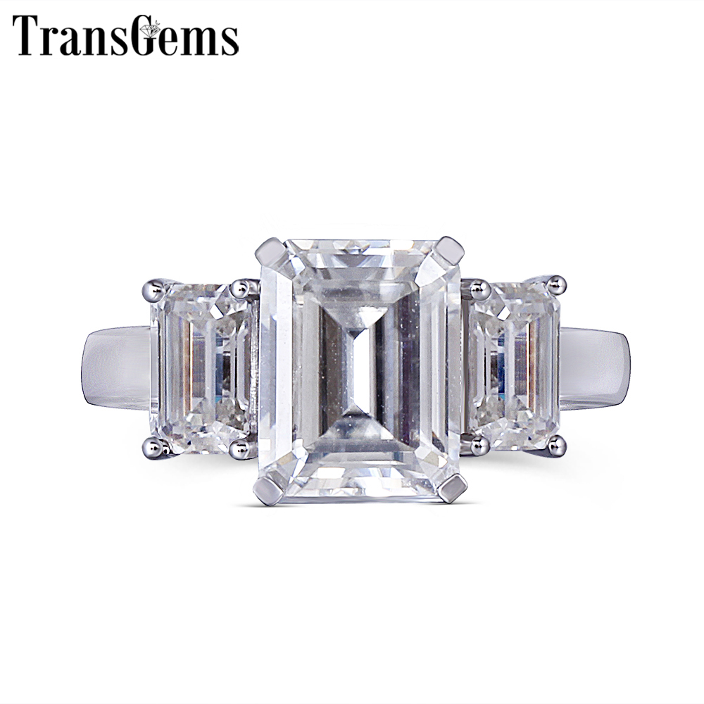 Transgems 14K 585 White Gold Moissanite Engagement Ring for Women F Color Moissanite Emerald Cut 3 Stone Engagement Ring