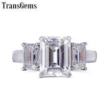 Transgems 14K 585 White Gold Moissanite Engagement Ring for Women F Color Moissanite Emerald Cut 3 Stone Engagement Ring