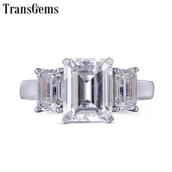 Transgems 14K 585 White Gold Moissanite Engagement Ring for Women F Color Moissanite Emerald Cut 3 Stone Engagement Ring transgems 14k white gold 1 4ctw 0 7ct 5mm f color princess cut moissanite engagement ring with 2 5mm princess cut side stone